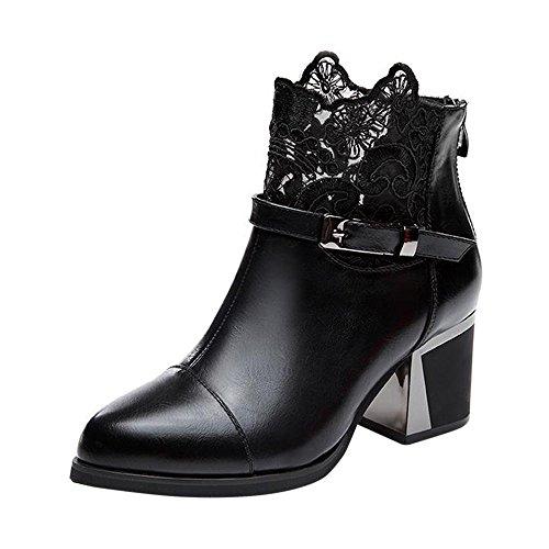 ❉Automne Hiver Bottines Chaussures Femme Bottes Haut Talon Fermeture Éclair latérale Bottes noël épais Soled Chaussures Bottes Plates en Talons Hauts noël Solides GongzhuMM (CN39, Noir)