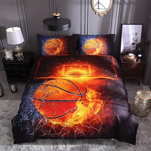 HGFHGD Flamme Basketball 3D Druck Basketball Sport Bettbezug Bettbezug Kissenbezug Heimtextilien 3-teiliges Set