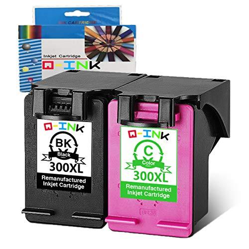 QINK 2PK 300 Wiederaufbereitete Tintenpatrone Ersatz für 300XL Kompatibel für Envy 100 110 114 120, Deskjet D1660 D2660 D5560 F2480 F4280 F4580, Photosmart C4680 C4780 C4670 C4600 C4700