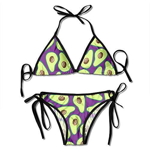 Traje De Baño,Conjunto De Bikini De Patrón De Aguacate Maduro Halter Ajustable Trajes De Baño De Mujer Sexy Baño Ropa De Playa para El Verano