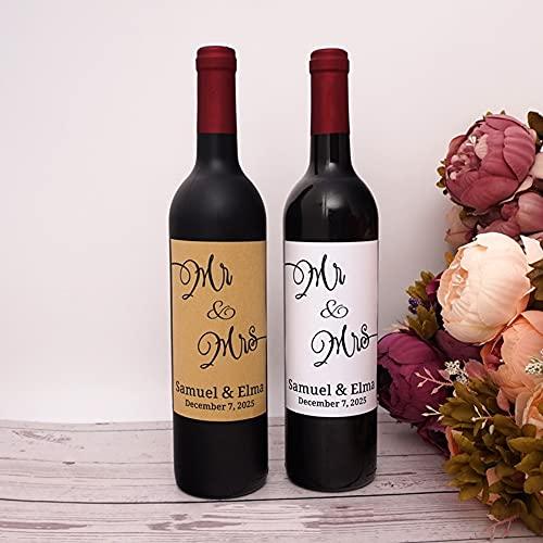 PMSMT 20 Piezas Personalizado Mr & Mrs Nombre de Pareja Fiesta Personalizada, Ducha de Novia, Etiquetas de Vino de champán para Boda, Pegatinas, Envoltura de Botella