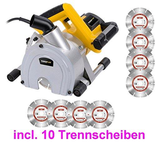 Profi Mauernutfräse Mauer-Schlitzfräse Nutfräse Wandfräse incl. 10 Diamantscheiben Trennscheiben
