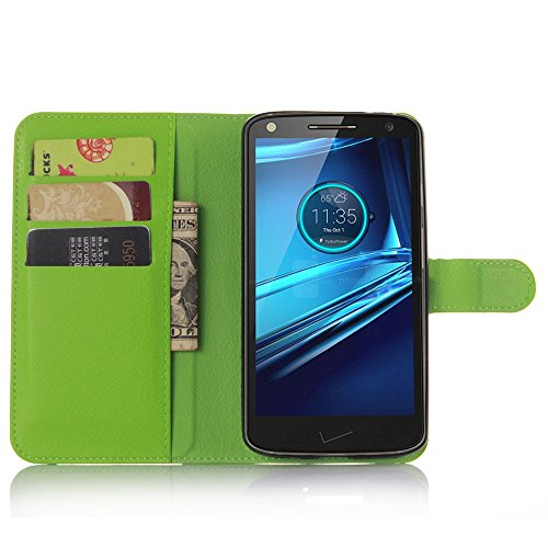 Ycloud Tasche für Motorola Moto Droid Turbo 2 Hülle, PU Ledertasche Flip Cover Wallet Hülle Handyhülle mit Stand Function Credit Card Slots Bookstyle Purse Design grün