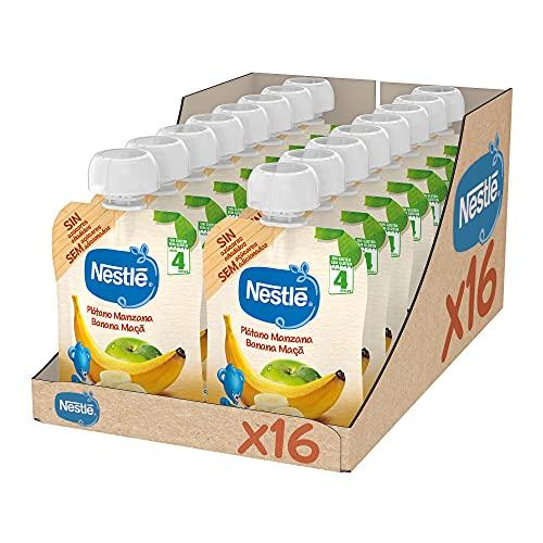 Nestlé Bolsita de puré de frutas, variedad Plátano y Manzana - Para bebés a partir de 4 meses - Paquete de 16 bolsitasx90g