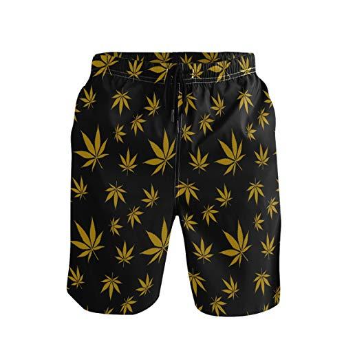 Emoya - Bañador para hombre, diseño de hojas de marihuana doradas, secado rápido, para playa