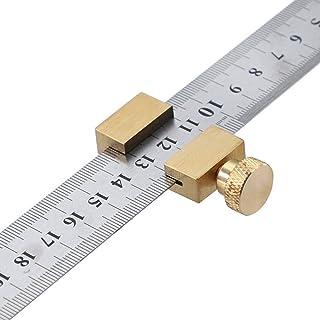 KKmoon Règle en acier laiton, bloc de positionnement de ligne de travail du bois, outil de mesure avec règle en acier de 3...