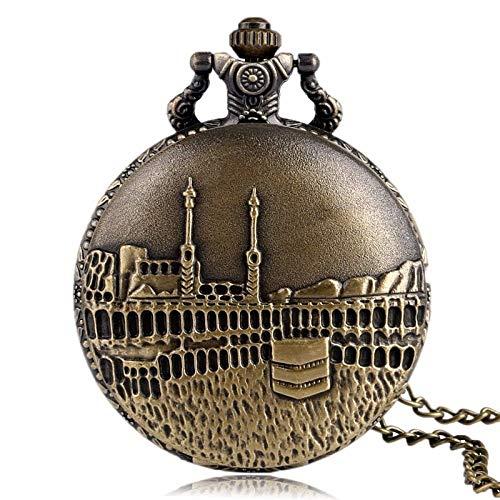 FEELHH Vintage Ketten Taschenuhr,Retro Voll Jäger Bronze Casual Halskette Herren Quarz Taschenuhr Schloss Anhänger Kupfer Lüfter Geschenk Für Taschenuhr Männlichen Wecker