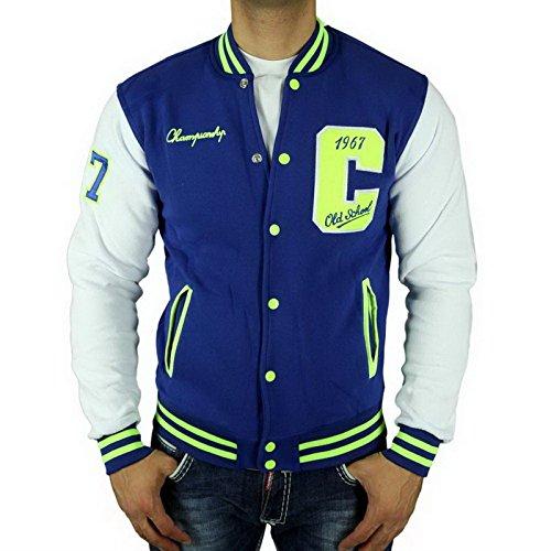 Cabeneli CABANELI Oldschool College Jacke Sweatjacke Pullover BLAU - WEIß NEU!, Größe:S