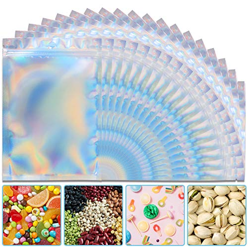 50 Pieces Holographic Bags 3'' x 4'' Resealable Smell Proof Bags Holographic Rainbow Color Bags Foil Pouch Ziplock Bags for Party Favor Food Storage, Coffee Beans, Candy & Jewelry Packaging