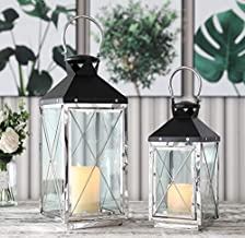"""JHY DESIGN Set of 2 Stainless Steel Decorative Candle Lanterns 19""""&14"""" High Metal Candle Lanterns for Indoor Outdoor Event..."""