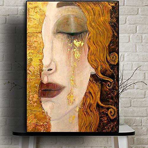 NO BRAND Artista clásico Gustav Klimt Lágrima Pintura al óleo Abstracta sobre Lienzo Carteles e Impresiones Arte Imágenes de Pared para Sala Cuadros 60x90cm Sin Marco