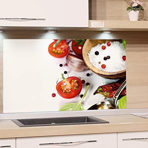 GRAZDesign Küchen Rückwand Weiß Glas-Bild Spritzschutz Herd Druck hinter Glas Bild-Motiv Gewürze und Tomaten / 80x60cm