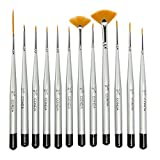 Conda Fine Detail Paint Brush Set - 12 Miniature Paint Brush for Detailing & Art Painting - Acrylic, Watercolor, Oil,Models, Airplane Kits, Nail Artist Supplies