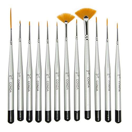 Conda 12 Stücke Feine Detail Pinsel Set, Miniaturpinsel für Detail- und Kunstmalerei, können für Acryl, Aquarell, Öl, Modelle, Flugzeug-Kits, Nail Art verwendet werden