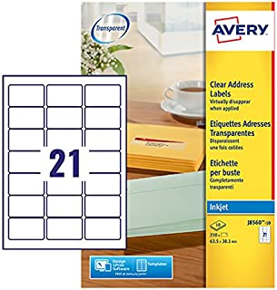 Avery J8560-10 Self-Adhesive Address/Mailing Labels, 21 Labels per A4 Sheet