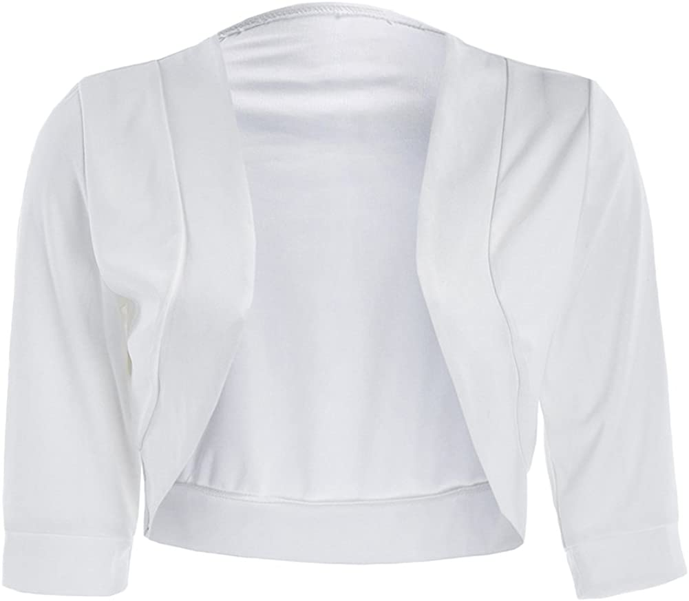 Women Classic Open Front 3/4 Sleeve Cropped Cardigan Bolero Shrug