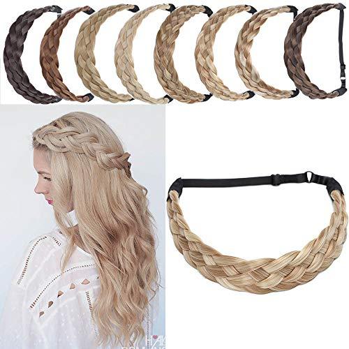 SEGO Ruban Tressé Serre-Têtes Accessoire Headband Cheveux Femme Élastique [5 Brins Largeur: 3.8cm] Postiche Synthetique Bandeau Pièce Stretch Twist Fibres Flexible