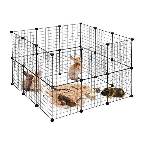 Relaxdays Freilaufgehege, DIY Freigehege für Kleintiere, Erweiterbarer Hasenauslauf, HBT ca. 72 x 110 x 110cm, schwarz