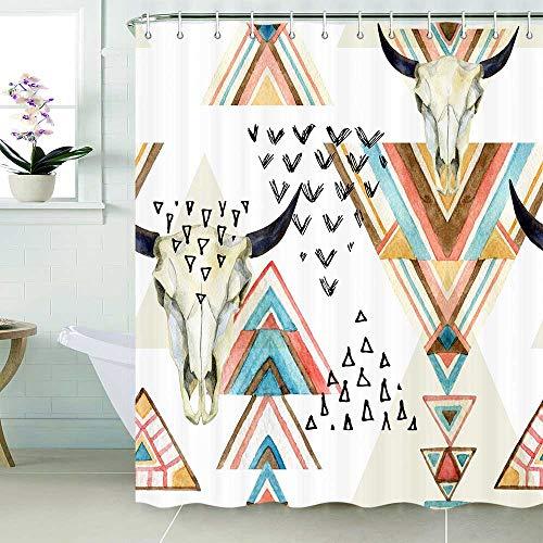 Western Boho Shower Curtain Southwestern Native Trible Bull Skull Bohemian Geometric Pattern Bathroom Shower Curtain Waterproof Fabric Bath Curtains with Hooks 69 x70 Inch
