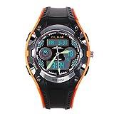nicerio Alike AK9132impermeable estudiantes niños Dual tiempo deportes LED cuarzo reloj de pulsera con fecha/alarma/cronómetro (naranja + negro)