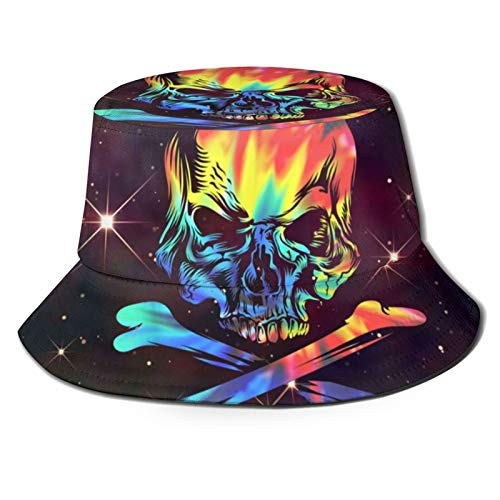 Sombrero de pescador con diseo de calavera, teido anudado, huesos cruzados, galaxia, sol, gorros para pesca al aire libre, camping, color negro