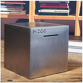 Hizgo Stainless Steel Piggy Bank for Adults - Adult Money Bank for Bills and Coins - Must Break to Open Metal Money Box  4.72-inch