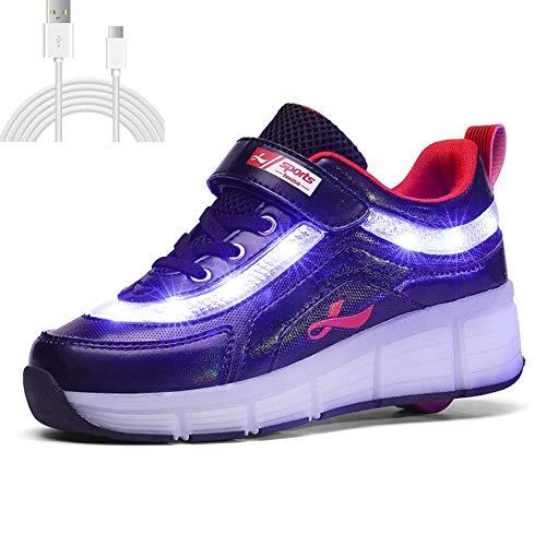 YISHIO LED-Räder Roller Sneakers, USB Aufladen Kinder Rollschuhe Jungen Pfote Patrouille Schuhe-Multifunktion Unsichtbar Automatische Riemenscheibe Inline Einziehbar Leicht Sport Outdoor Abnehmbar