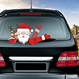 MIYSNEIRN Rear Wiper Decal Christmas Santa Claus Waving Wiper Decals for Rear Window,Waterproof Rear Windshield Wiper Decal,Attaches to Back Wiper Blade Decal Tags for Vehicles Decoration Christmas Holiday