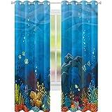 Cortinas opacas para oscurecimiento de habitación, diseño de peces de acuario, arco de piedra y coral de 52 x 72, cortina opaca para sala de estar