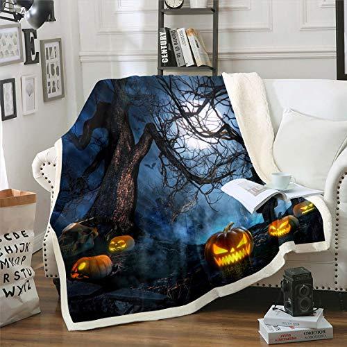 Kinder Kürbis Laterne Flanell Fleecedecke für Couch Halloween Themen Wohndecke 150x200cm Scary Misty Wald Kuscheldecke Horror Friedhof Raumdekor
