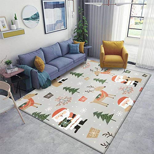 Seamless Cute Santa and Reindeer and Christmas Ornament Pattern Area Rugs Floor Mat Non Slip Throw Rugs Soft Door Mat Nursery Carpet for Living Room Home Indoor Outdoor Runner Rugs Yoga Mat