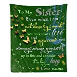 CUXWEOT Custom Blanket with Name Text Personalized to My Sister Soft Fleece Throw Blanket for Gifts (50 X 60 inches)