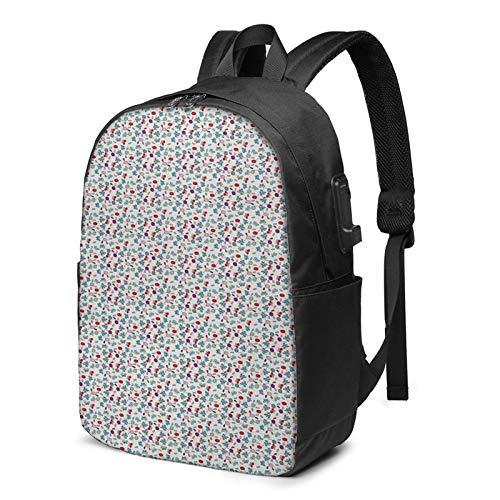 Laptop Backpack with USB Port Butterfly Petals Buds Flora Fauna, Business Travel Bag, College School Computer Rucksack Bag for Men Women 17 Inch Laptop Notebook