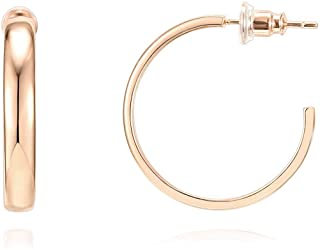 14K Gold Plated Silver Post Wide Flat Edge 40mm Hoop...