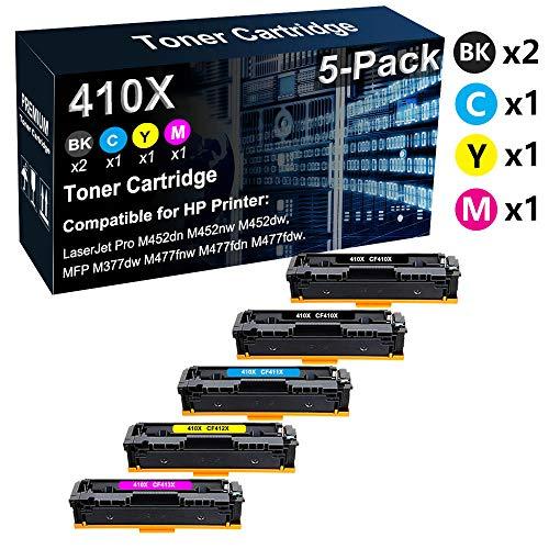 Paquete de 5 cartuchos de tóner compatibles BK+C+Y+M) para HP 410X (2 x CF410X CF411X CF412X CF413X CF413X) compatible con HP Color LaserJet Pro M452nw M452dw / MFP M377dw M477fdn Printer
