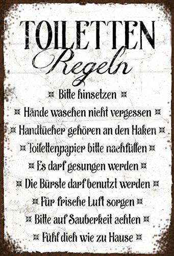 Schatzmix Toiletten Regeln Retro veraltet rostig Metal Sign deko Sign Garten Blech