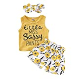 PigMaMa 3 Pcs Infant Baby Girl Clothes Yellow Sleeveless Tank Tops T-Shirt Flower Pant Headband Toddler Outfits 18-24 Months