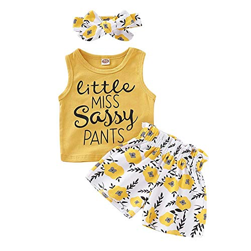 PigMaMa 3 Pcs Infant Baby Girl Clothes Yellow Sleeveless Tank Tops T-Shirt Flower Pant Headband Toddler Outfits 12-18 Months