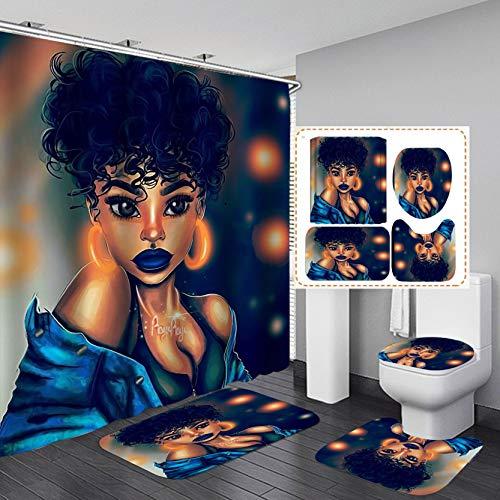 Jayden&Madge 4PCS/Set Gorgeous African Woman Shower Curtain Afro Girl Bath Curtain Waterproof Fabric Cloth Bathtub Curtains, Non-Slip Bathroom Rugs Bath Mats Toilet Carpet Black Art, Sexy Girl