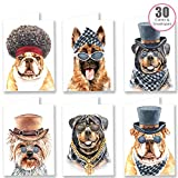 Ruby Ashley - Lote de 30 tarjetas de cumpleaños con sobres, diseño de perros con texto en inglés'Thank You'