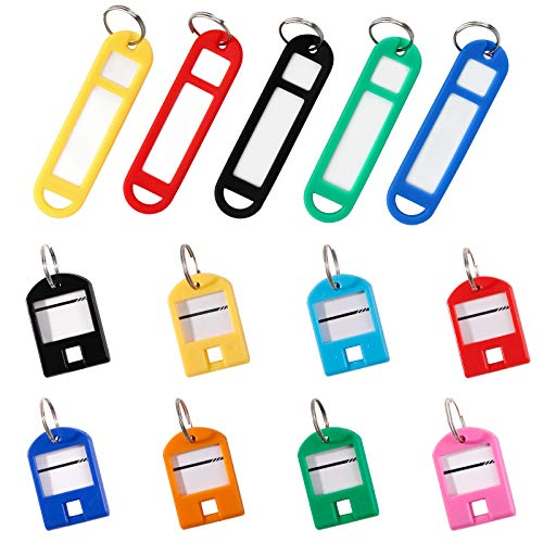 Key Tags with Split Ring Label Window,Key ID Label Name Tags Key Label Write on Key Identifiers for Key Box,Home,Pet,Office,Backpack,Luggage,Apartment,Hotel,Rental,Assorted Colors in 2 Styles,28 Pack
