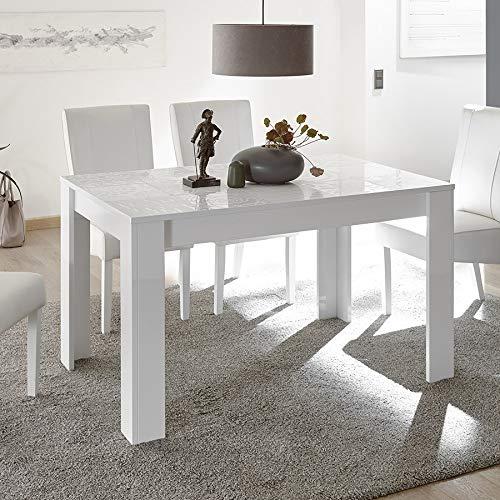 M-012 Table de Repas Blanc laqué Design 140 cm ELMA