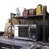 Mensola Microonde 2 livelli Pieghevole, Ripiano della Cucina del Forno con 6 ganci pendenti, supporto microonde con contenitore, scaffale da cucina, Portante 30kg, Nessuna installazione, 60x50x39cm