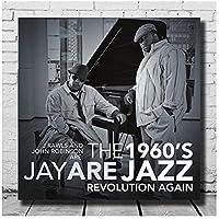 Bxygml JayARE J. Rawls&JohnRobinson-1960年のジャズカバーカスタムアートポスターオフィス用ルームウォールアート用LWキャバン-60x60cmフレームなし
