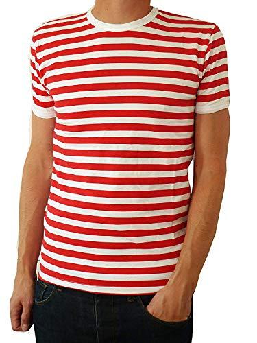 T-Shirt Herren Rot Weiß Gestreift Indie Mod Bretonen Stil 60er Jahre S M L - Rot und Weiß, S
