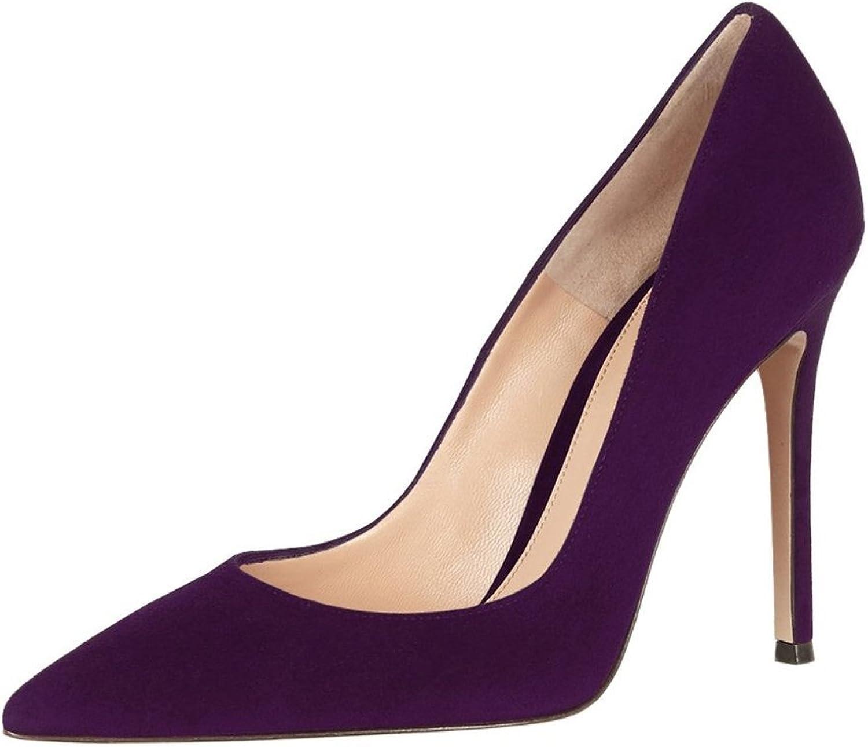 Eldof Women's High heel 10CM Office Pumps Pointed Toe Slip on Heels Classic Pumps