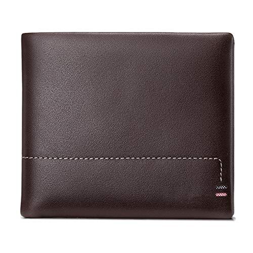 ZssmGood Wallet - Bolso Tipo Bandolera, de Cuero, para Hombre, Cartera, Gamuza, sección Transversal, carnet de Conducir, marrón