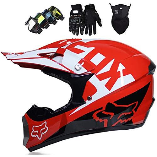 Casco de moto integral, Casco de Motocross para adultos para Enduro BMX Bike Scooter MX ATV, Casco MTB con diseño Fox, Certificación ECE (Guantes/Gafas/Máscara)
