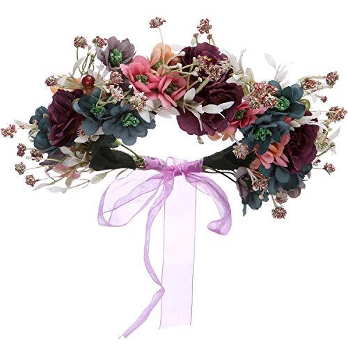 Folora Verstellbarer Blumen-Haarband Haarkranz Blumengirlande Kopfschmuck mit Band für Hochzeit...