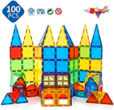 Magnet Toys Kids Magnetic Building Tiles 100 Pcs 3D Magnetic Blocks Preschool Building Sets Educational Toys for Toddlers Boys and Girls.
